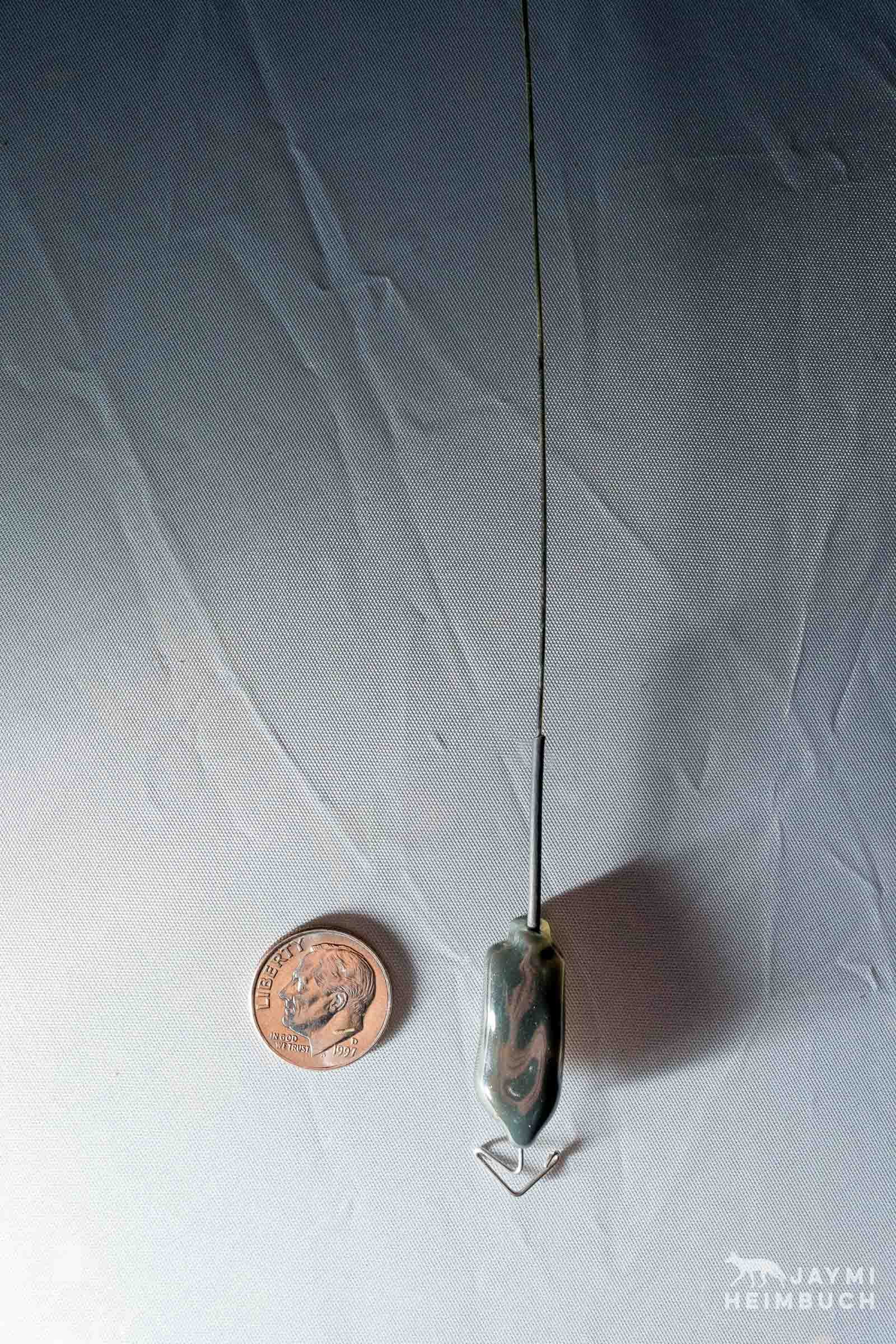 GPS locator tag used on marbled murrelets, compared to a U.S. dime.